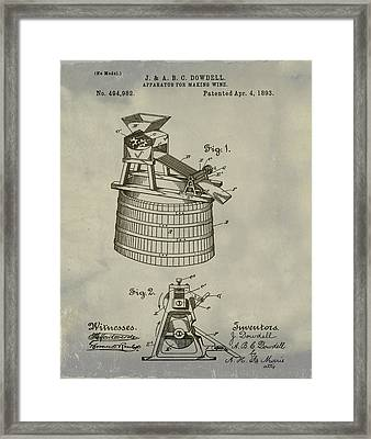 Apparatus For Making Wine Patent 1893 Vintage Framed Print by Bill Cannon