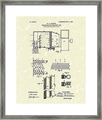 Apparatus For Treating Air 1906 Carrier Patent Art Framed Print