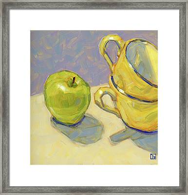 Green Apple And Tea Cups Framed Print