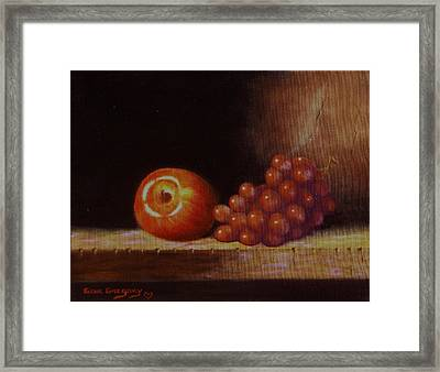 Apple And Grapes Framed Print by Gene Gregory