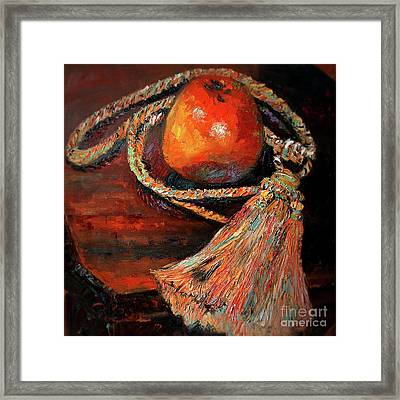Framed Print featuring the painting Apple And Tassel Still Life Oil Painting by Ginette Callaway