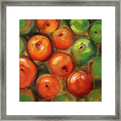 Apple Barrel Still Life Framed Print by Nancy Merkle