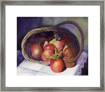 Apple Basket Framed Print by Kathy Nesseth