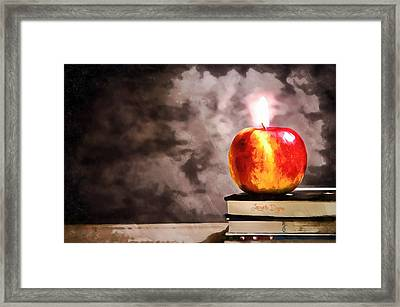 Apple Candle Framed Print by Leonardo Digenio