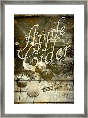 Apple Cider Sign Printed On Rustic Wood Planks Framed Print by Jorgo Photography - Wall Art Gallery