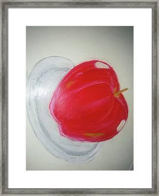 Apple In Plate Framed Print