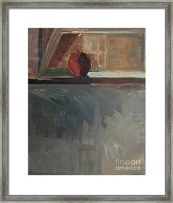 Apple On A Sill Framed Print