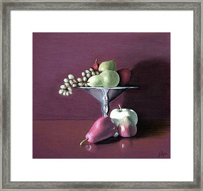 Apple  Pears And Grapes Framed Print by Joseph Ogle