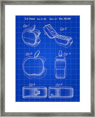 Apple Phone Patent 1985 - Blue Framed Print by Stephen Younts