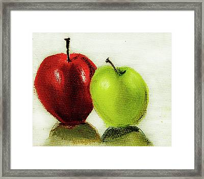 Framed Print featuring the pastel Apple Study by Linde Townsend