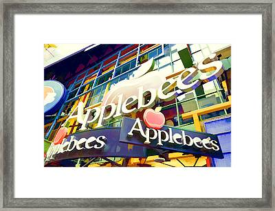 Applebee's Restaurant Sign At New York City 42 St Framed Print by Lanjee Chee