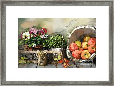 Apples And Angel Hearts Framed Print by Carrie Joy Byrnes