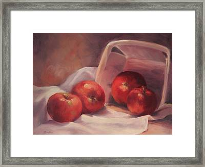 Apples And  Basket Framed Print by Vikki Bouffard