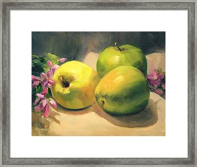 Apples And  Blossoms Framed Print by Vikki Bouffard