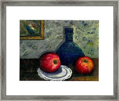 Apples And Bottles Framed Print