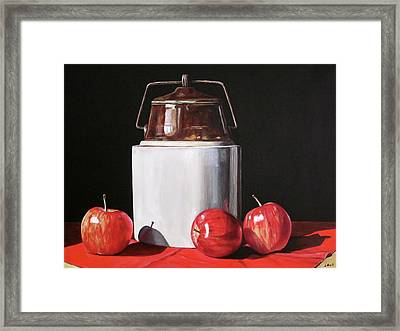 Apples And Crock Framed Print by Lillian Bell