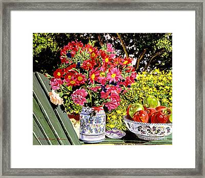 Apples And Flowers Framed Print by David Lloyd Glover