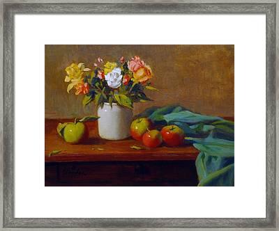 Apples And Flowers Framed Print by David Olander