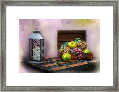 Apples And Grapes Framed Print by Mary Timman