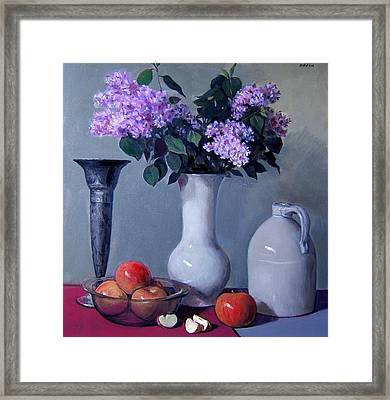 Apples And Lilacs, Silver Vase, Vintage Stoneware Jug Framed Print