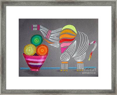Apples And Oranges And Elephants, Oh My -- Whimsical Still Life W/ Elephant Framed Print
