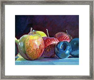 Apples And Plums  Framed Print by David Lloyd Glover