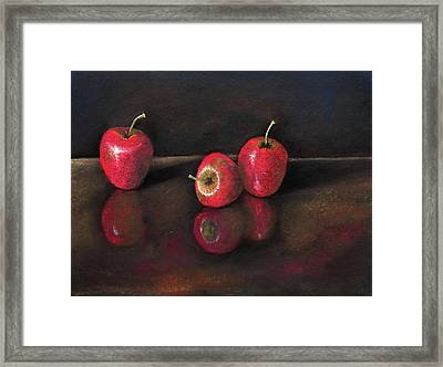 Apples And Reflections Framed Print by Nirdesha Munasinghe