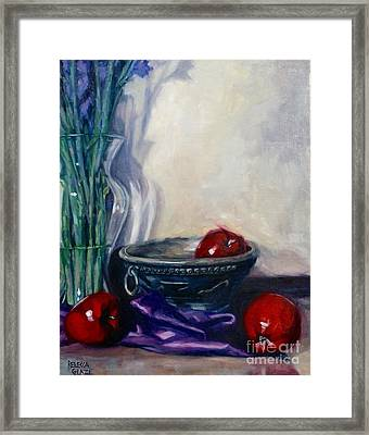 Apples And Silk Framed Print by Rebecca Glaze