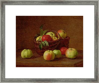 Apples In A Basket And On A Table Framed Print by Ignace Henri Jean Fantin-Latour