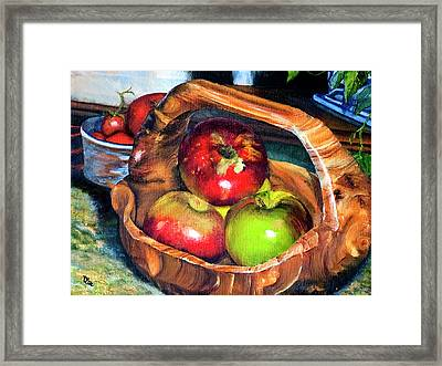 Apples In A Burled Bowl Framed Print