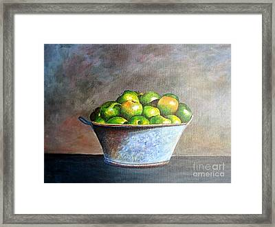 Apples In A Rusty Bucket Framed Print