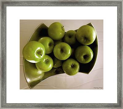 Apples In A Silver Vase 2 Framed Print by Fanny Diaz