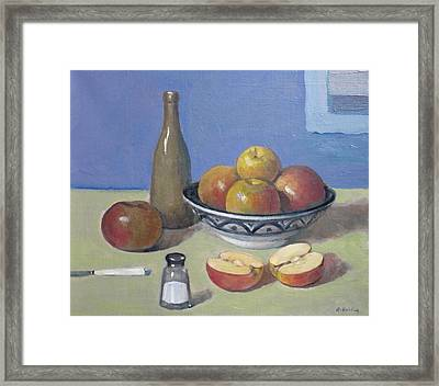 Apples In Moroccan Bowl, Salt And Vintage Bottle Framed Print