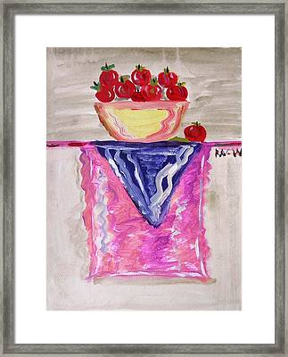 Framed Print featuring the painting Apples On Table With Colorful Scarf by Mary Carol Williams