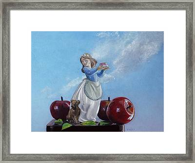 Apples With Figurine Framed Print by Robert Tracy