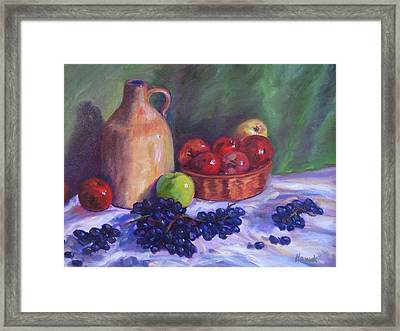 Apples With Grapes Framed Print by Richard Nowak