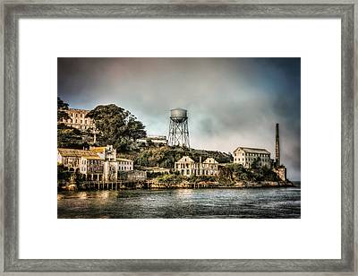 Approaching Alcatraz Island And Water Tower  Framed Print by Jennifer Rondinelli Reilly - Fine Art Photography