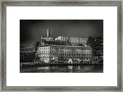 Approaching Alcatraz Island In Black And White Framed Print by Jennifer Rondinelli Reilly - Fine Art Photography