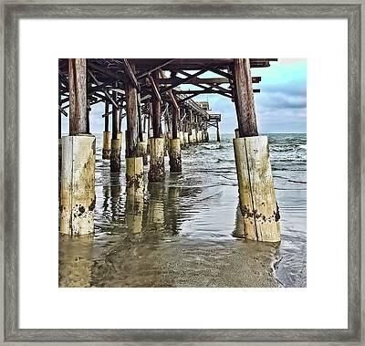 Approaching Dusk - Cocoa Beach Pier Pylons - 1a Framed Print by Greg Jackson
