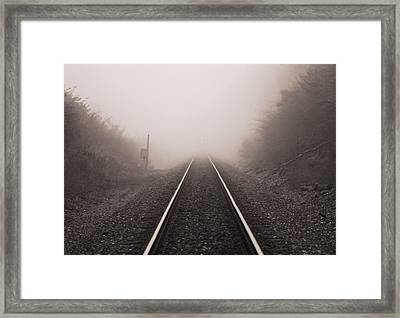 Approaching Train In Fog Framed Print