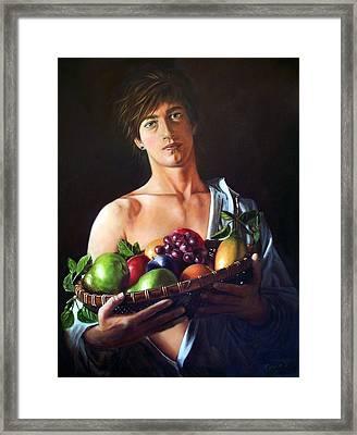 Apres Caravaggio - Garcon Avec Le Panier Du Fruit Framed Print