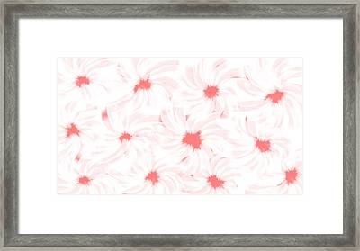 'apricot And White Flower Abstract 2' Framed Print