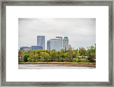 April 2015 - Stormy Weather Over Tulsa Oklahoma Skyline Framed Print by Alex Grichenko