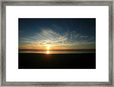 April Beach Sunset Framed Print by Mike Coverdale
