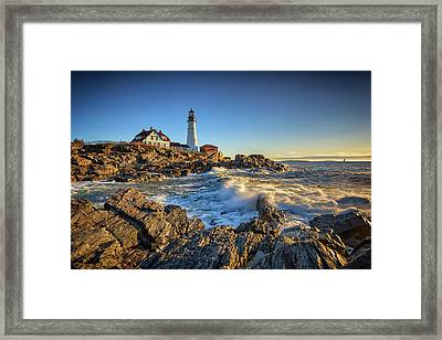April Morning At Portland Head Framed Print by Rick Berk