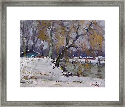 April Snow Storm Framed Print