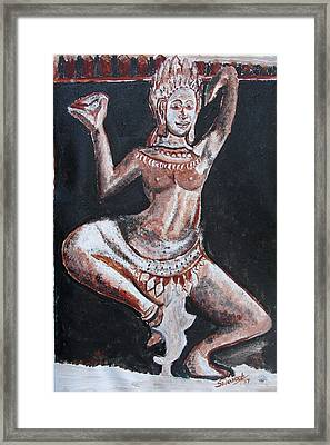 Framed Print featuring the painting Apsara Dancing by Anand Swaroop Manchiraju