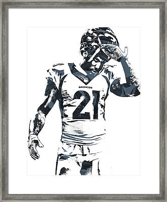 Aqib Talib Denver Broncos Pixel Art Framed Print by Joe Hamilton