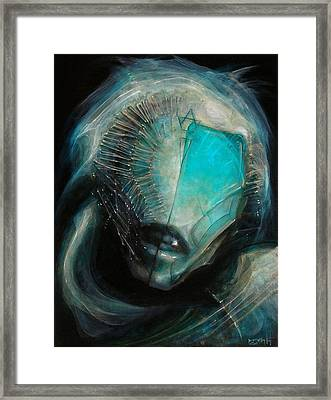 Aqua Alien Framed Print by Robert Anderson