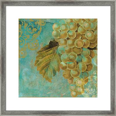 Aqua And Gold Grapes Framed Print by Mindy Sommers